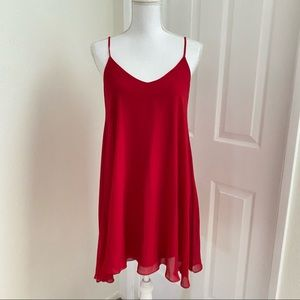 Cute by Daisy Sheer Red A-Line Tie Back Dress Sm
